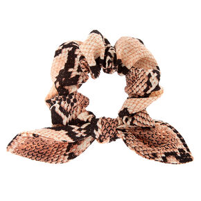 Snakeskin Knotted Bow Hair Scrunchie - Blush,
