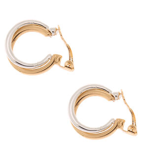Mixed Metal 10MM Twist Clip On Hoop Earrings,
