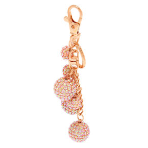 Rose Gold Bling Fireball Keychain - Pink,