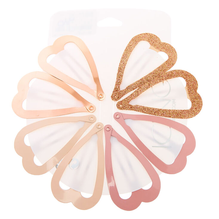 Blushing Gold Heart Snap Hair Clips - 8 Pack,