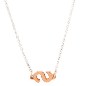 Mixed Metal Sideways Initial Pendant Necklace - S,