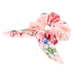 Rose Print Bow Hair Scrunchie - Pink,