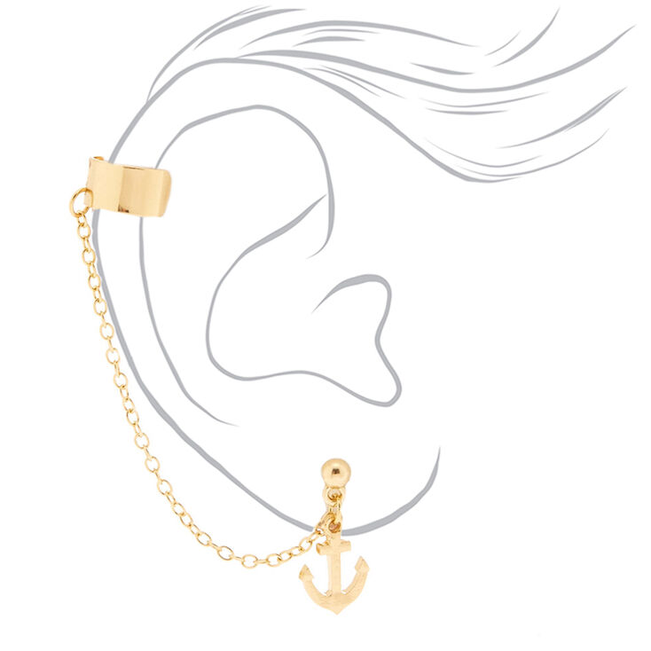 Gold Anchor Connector Earrings,