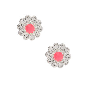 Silver Embellished Flower Stud Earrings - Pink,