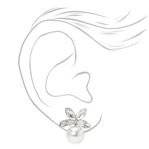Silver Pearl Leaf Stud Earrings,