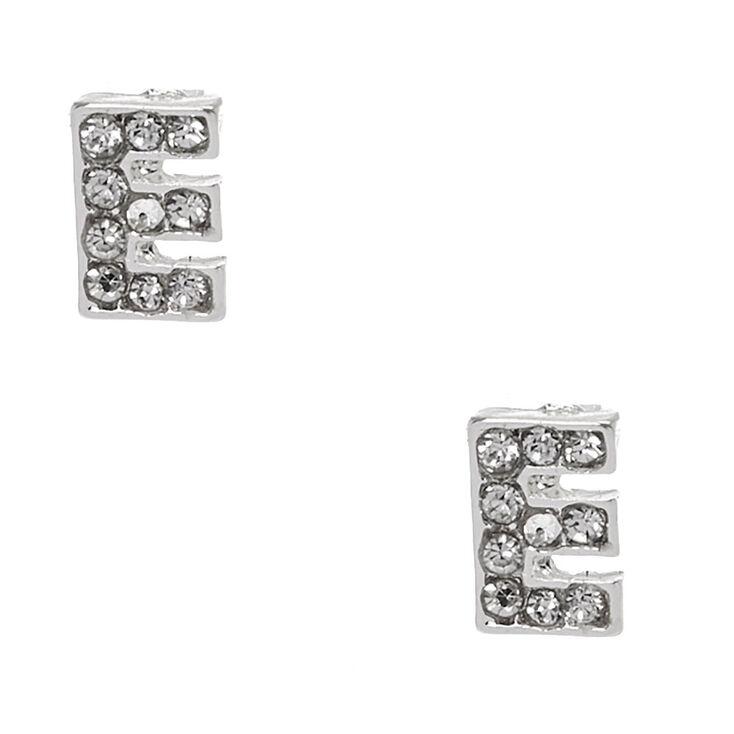 "Silver Tone Faux Crystal Initial ""E"" Stud Earrings,"