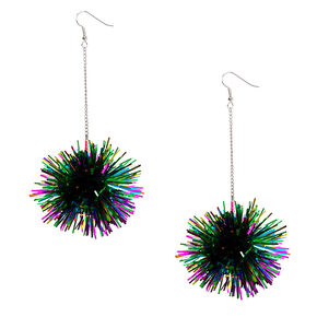 "Silver 4"" Rainbow Tinsel Pom Drop Earrings,"