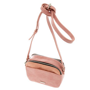 Faux Leather Camera Crossbody Bag - Pink,