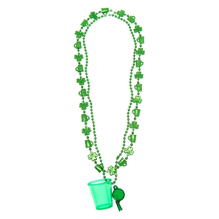 Whistle Shot Glass Beaded Necklaces - Green, 2 Pack,