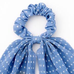 Small Polka Dot Pleated Scarf Hair Scrunchie - Light Blue,
