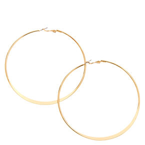 90MM Gold Tone Knife Edge Hoop Earrings,
