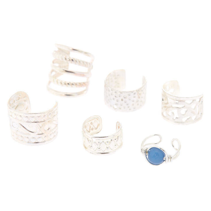 6 Pack Silver & Turquoise Ear Cuffs,