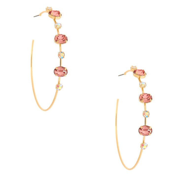 Gold 60MM Opal Stone Hoop Earrings - Pink,