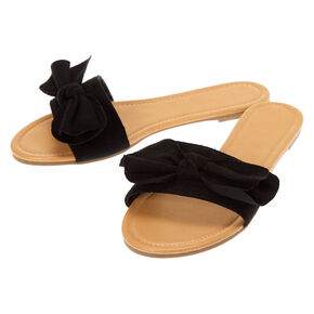 Knotted Bow Sandals - Black,