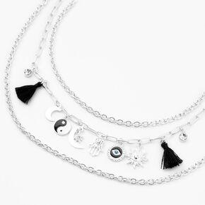 Silver Yin Yang Evil Eye Multi Strand Chain Necklace,