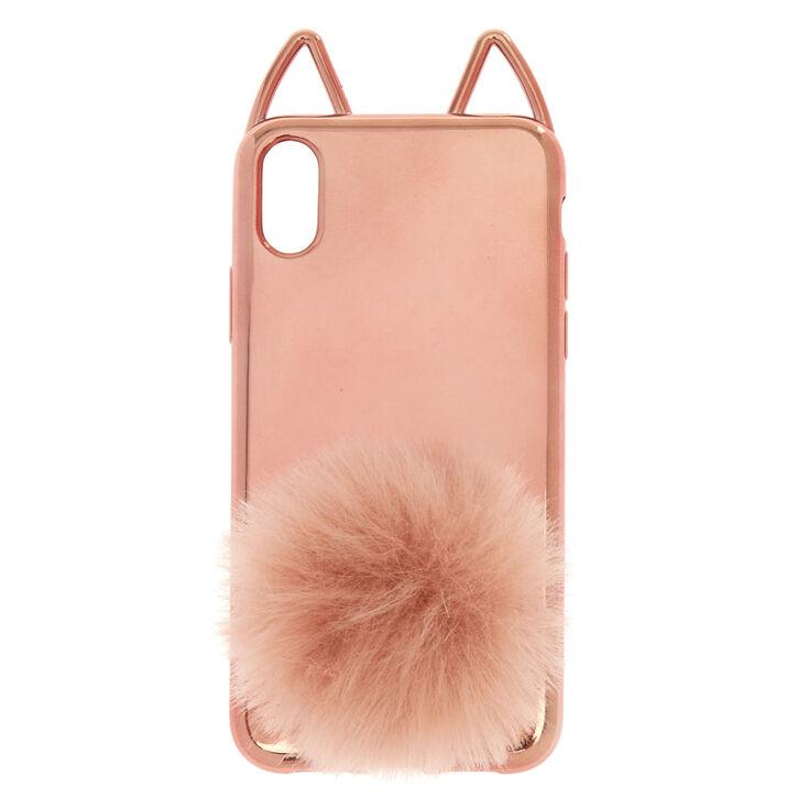 Rose Gold Cat Pom Phone Case - Fits iPhone X/XS,