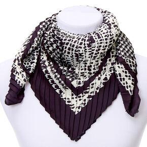 Square Mixed Print Fashion Scarf - Black,