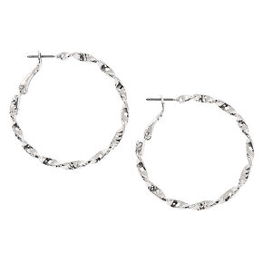 Silver 40MM Twisted Hoop Earrings,