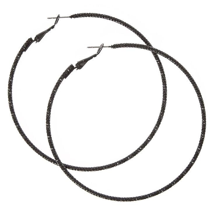 70MM Textured Black Hoop Earrings,