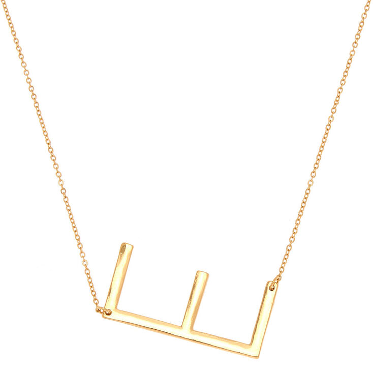 Oversized Initial Pendant Necklace - E,