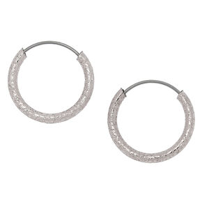 Rose Gold 10MM Sandblasted Hoop Earrings,