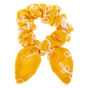 Small Embroidered Floral Knotted Bow Hair Scrunchie - Mustard,