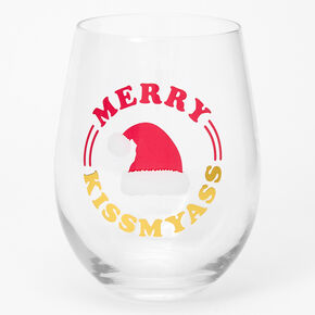 Merry Kiss My Ass Wine Glass,