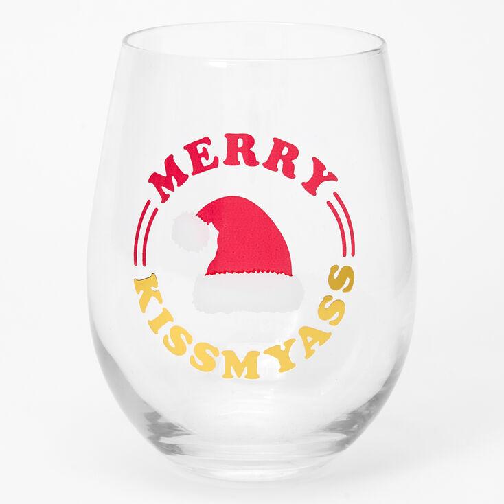Merry Kiss My Ass Wine Glass,
