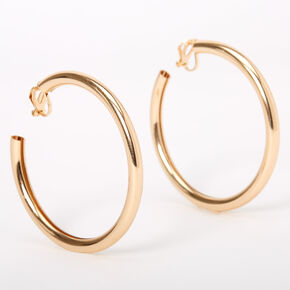 Gold 60MM Tube Clip On Hoop Earrings,