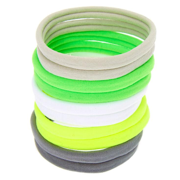 Neon Lemon Lime Rolled Hair Ties - 10 Pack,
