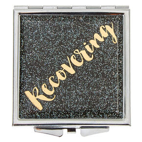 Recovering Glittery Black Square Compact Mirror,