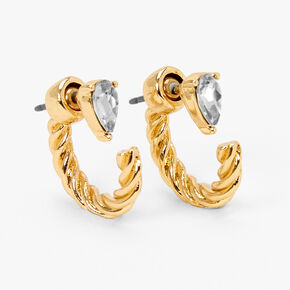 Gold 15MM Front and Back Crystal Twisted Tube Hoop Earrings,