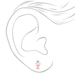Sterling Silver Ice Cream Sundae Stud Earrings - Pink,
