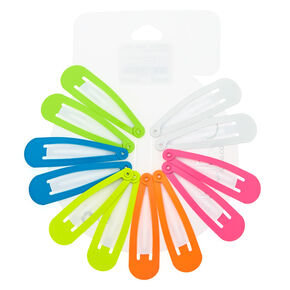 Neon Rainbow Snap Hair Clips - 12 Pack,