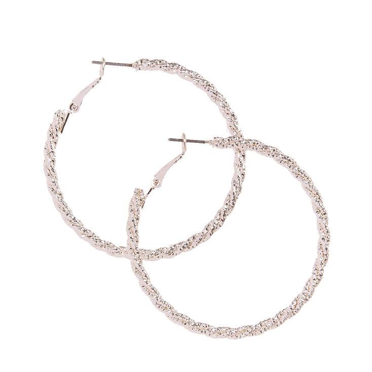 Silver Tone Textured Roped Hoop Earrings,