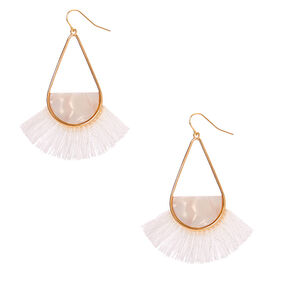 "Gold 2.5"" Tassel Drop Earrings - White,"