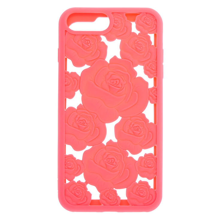 Coral Floral Cut Out Silicone Phone Case - Fits iPhone 6/7/8 Plus,