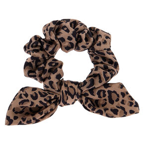 Small Leopard Knotted Bow Hair Scrunchie - Brown,