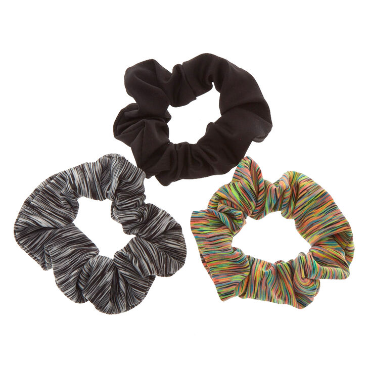 Small Black & Neon Marled Hair Scrunchies - 3 Pack,
