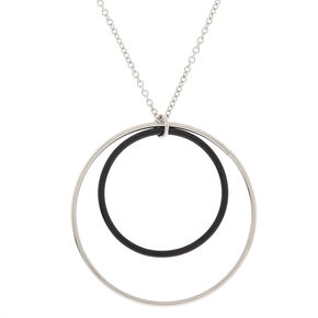 Silver Double Loop Long Necklace - Black,