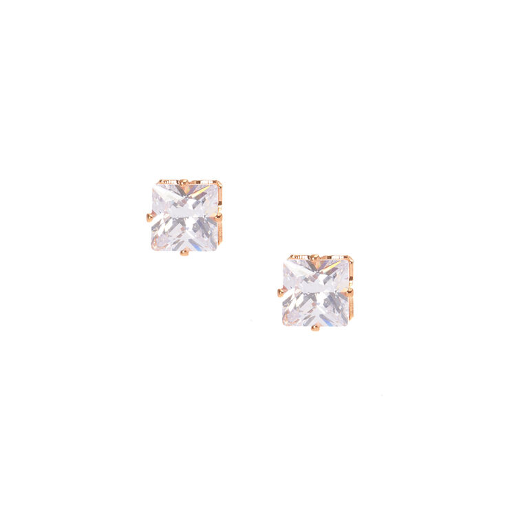 8mm Square Cubic Zirconia Stud Earrings