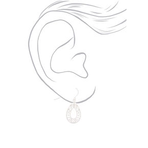 "Silver 1"" Filigree Fancies Drop Earrings - 3 Pack,"