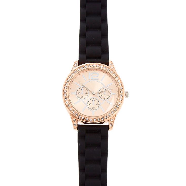 Pavé Black Rubber Link Watch,