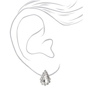 Silver Rhinestone Simple Teardrop Jewelry Set - 2 Pack,