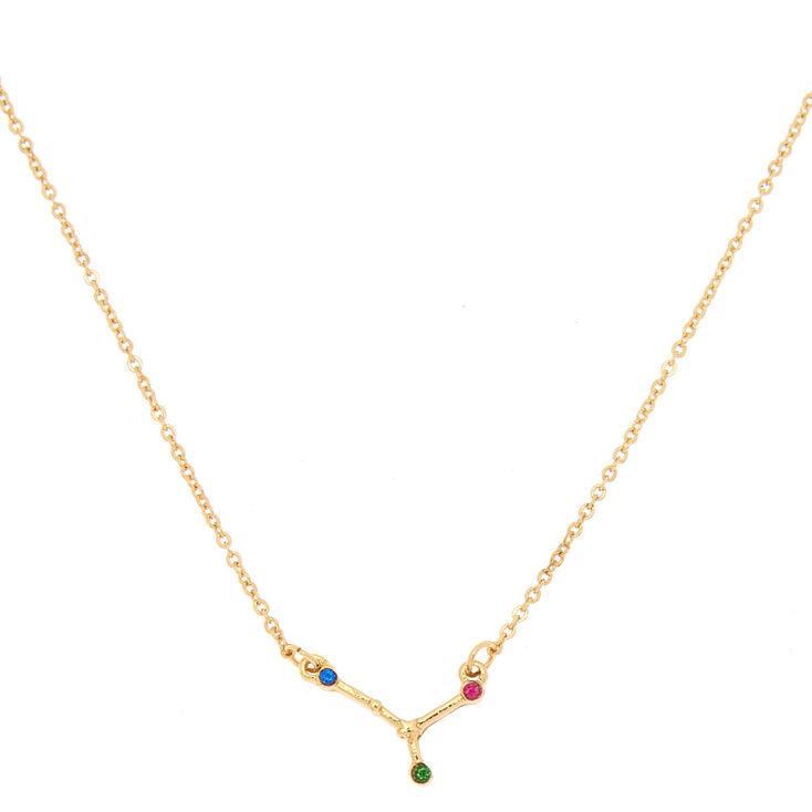 Gold Zodiac Constellation Pendant Necklace - Cancer,