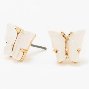 Gold Glitter Butterfly Stud Earrings - White,