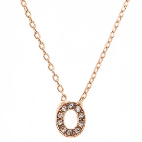 "Rose Gold Studded ""O"" Initial Necklace,"