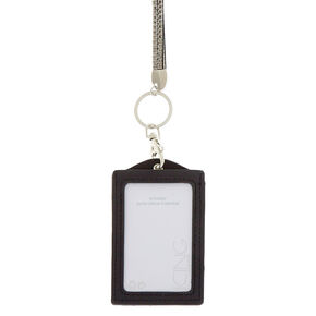 Reversible Sequin Lanyard and ID Holder - Black,