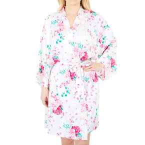 Pink Peony Floral Satin Robe - L/XL,