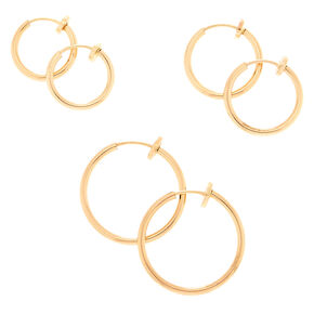 Gold Graduated Spring Clip Hoop Earrings - 3 Pack,